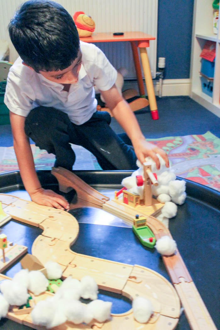 winter small world play with wooden trains