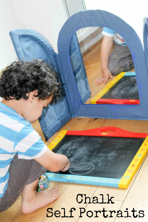 Chalk self portrait activity for kids - so much learning and development in this simple activity!