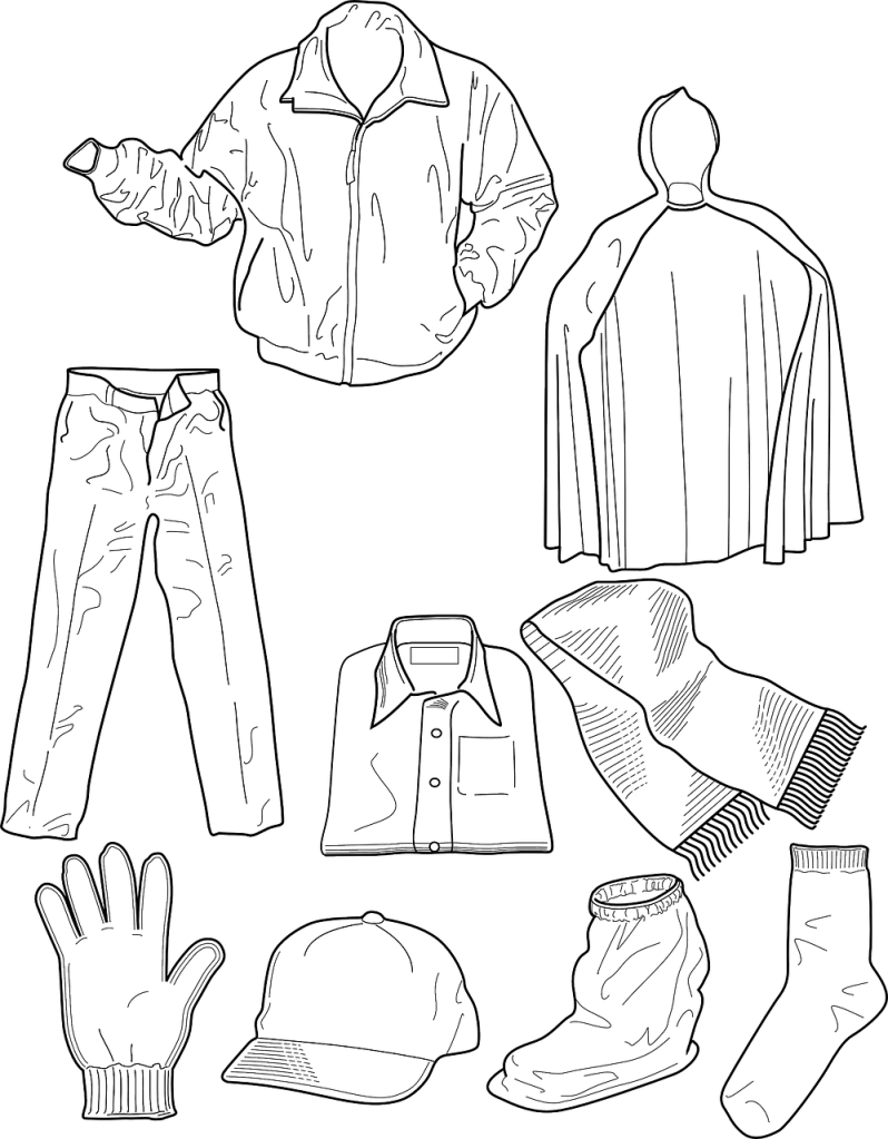clothing colouring sheet printable