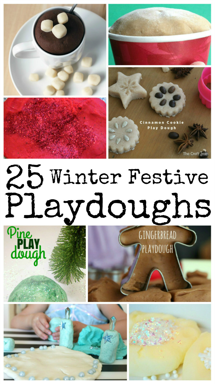 Winter and Christmas festive playdough recipes including cloud dough and other types of fun dough!