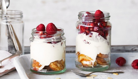 Diddy pancake trifles in a jar. This is a super easy no cook recipe