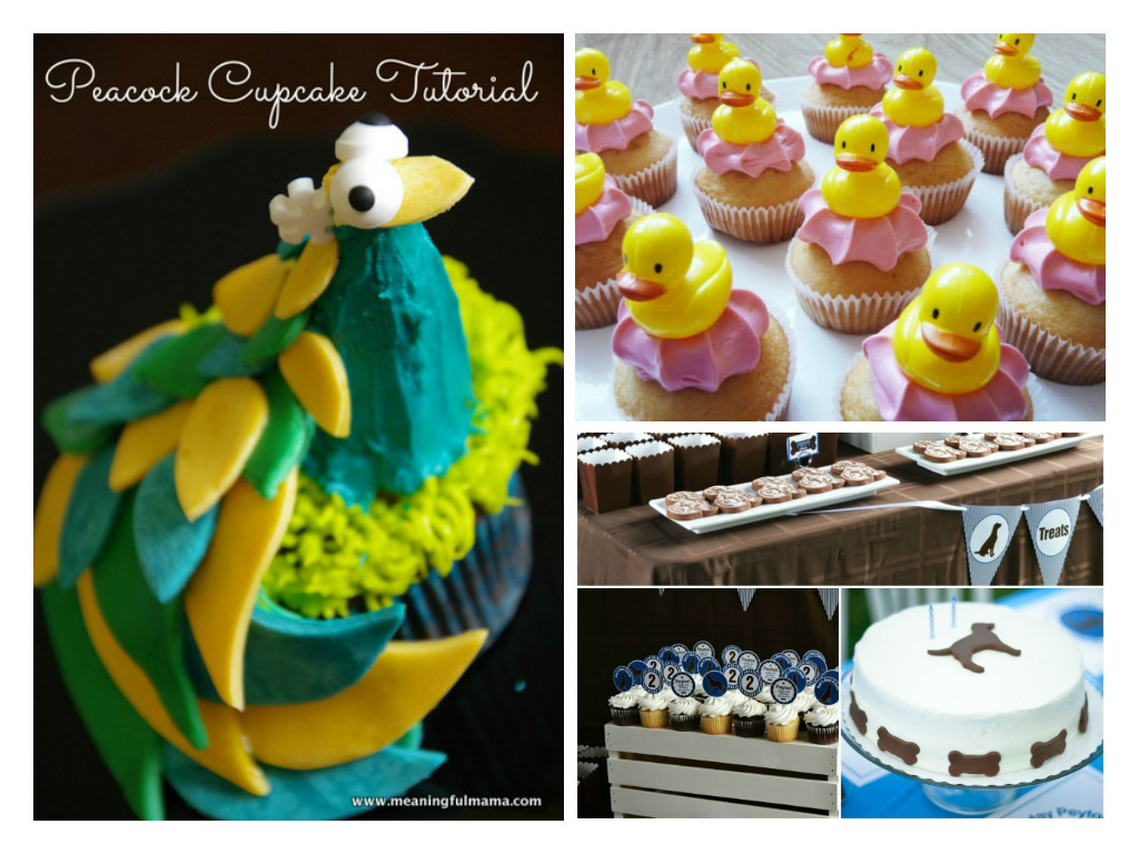 peacock cupcake, duck cupcakes and puppy dog cakes for kids animal themed birthdays