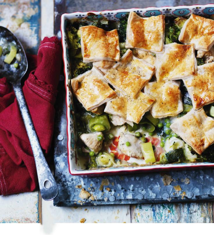 Chicken and leek patchwork pie healthy comfort food recipe