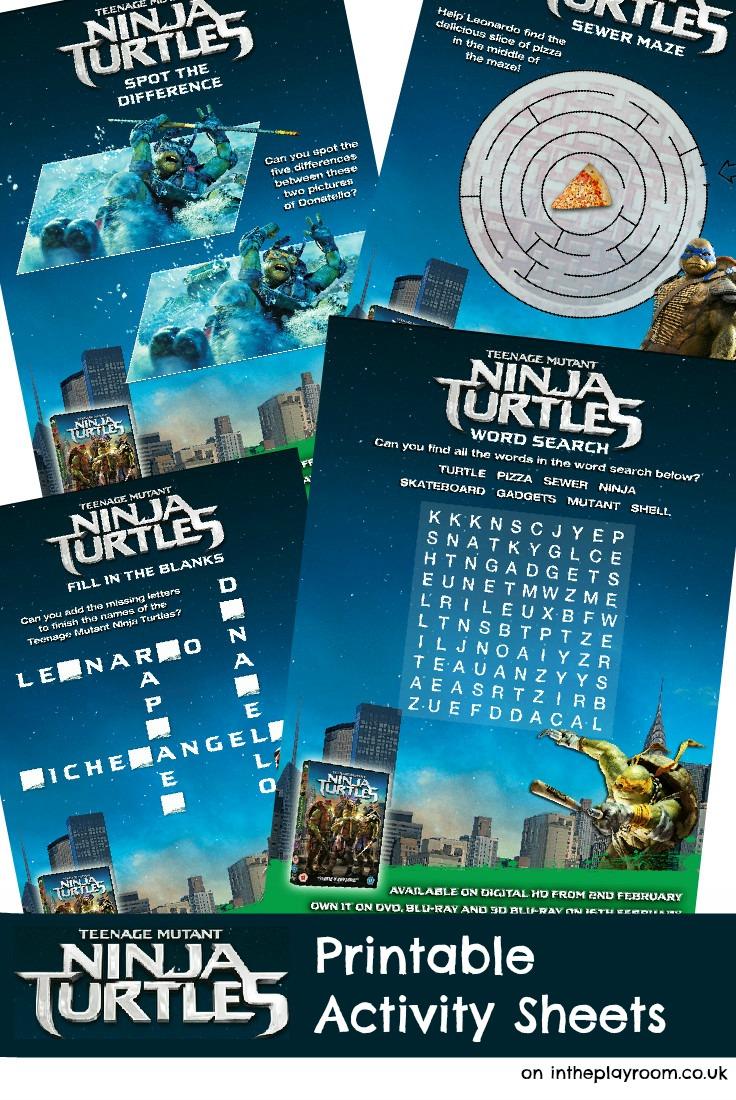 Teenage Mutant Ninja Turtles printable activity sheets, from the new TMNT movie