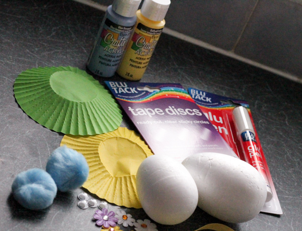 supplies to make easter egg bunnies