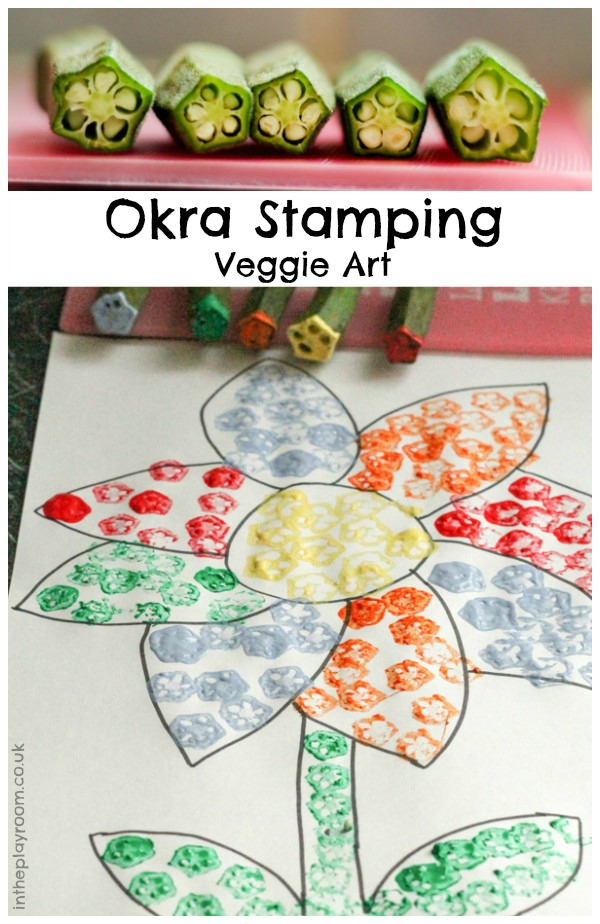 Veggie stamping with Okra. A fun way for kids to paint