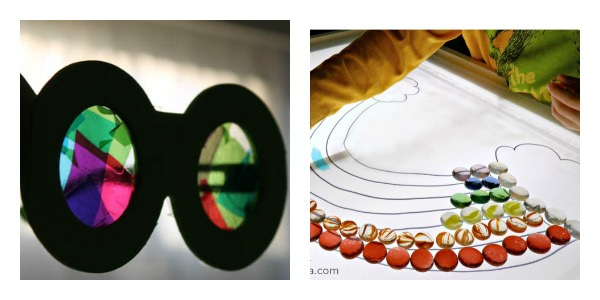 rainbow light and vision sensory play