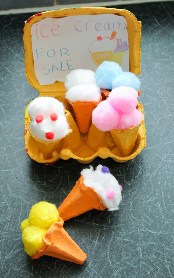 Egg carton ice cream cones in the playroom for Egg tray craft