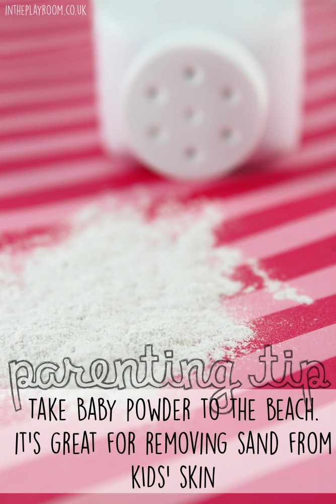 Take baby powder to the beach. It's great for removing sand from kids' skin