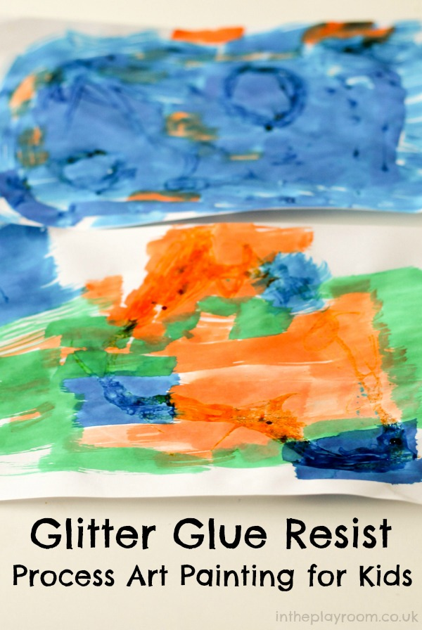 Glitter glue resist process art painting activity for kids. Perfect for rainy day fun
