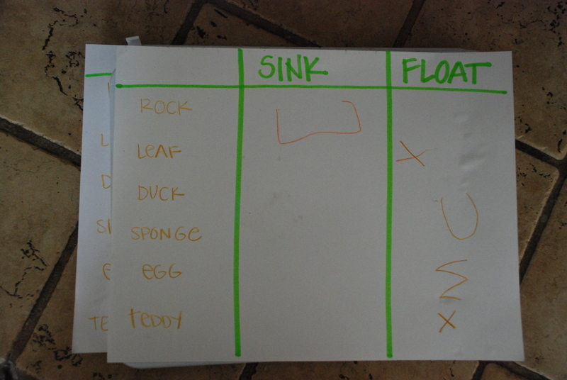 simple sink or float chart science experiment for kids