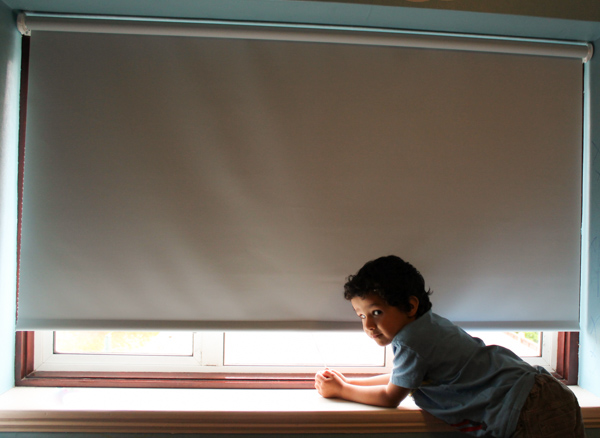 Spring loaded cordless roller blinds. These are child safe for children's bedrooms