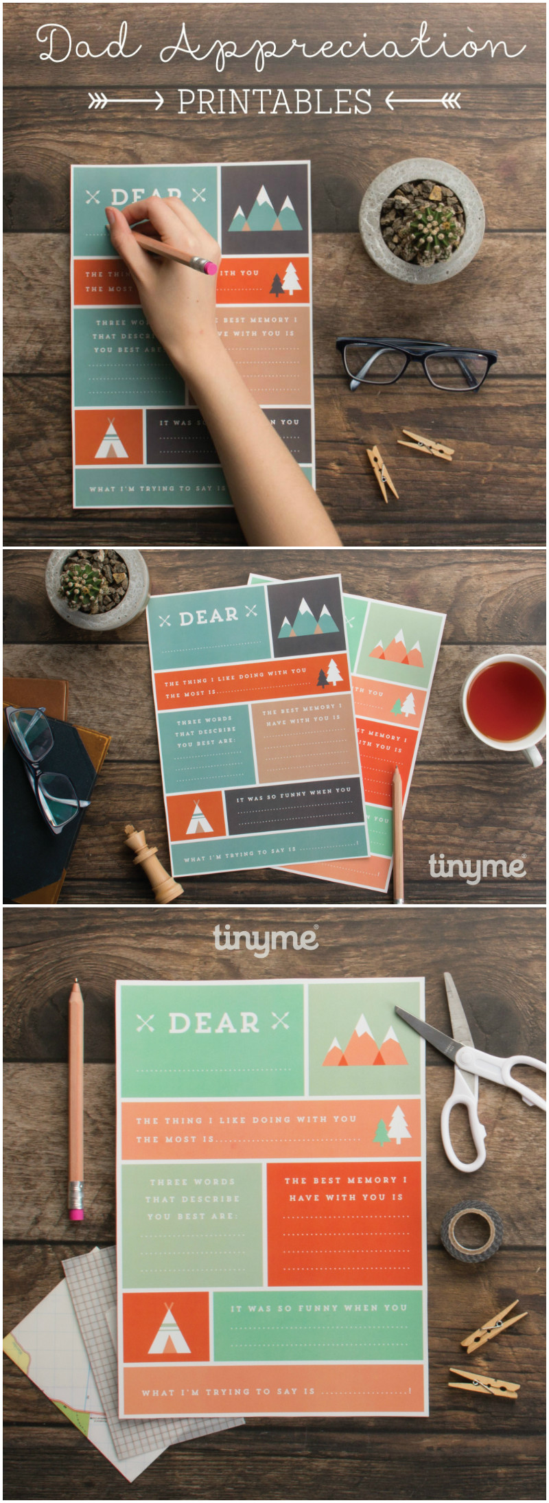 dad appreciation printables for Father's day. Cute idea for kids to make for dad