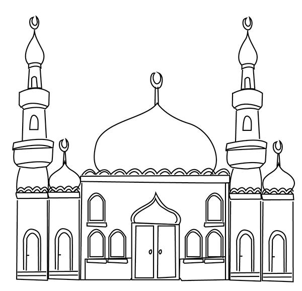 mosque colouring page ramadan printable