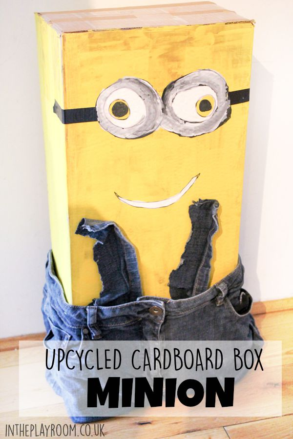 How to make a cardboard box Minion. Fun junk modelling upcycling kids craft idea for fans of the minions movie