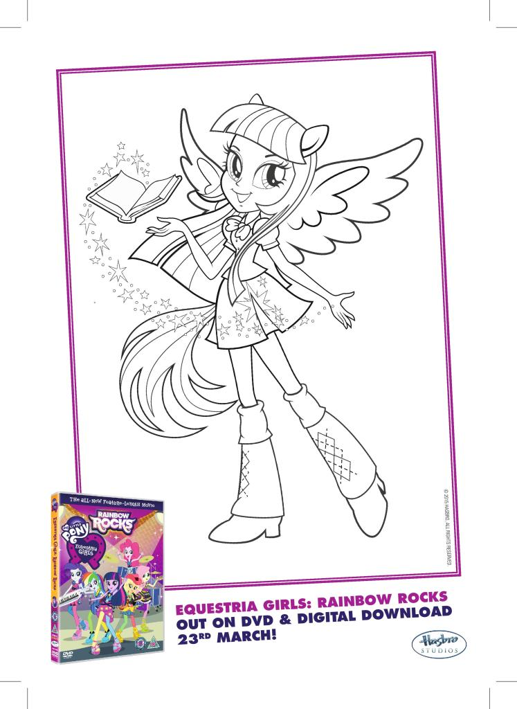 my Little Pony Equestria Girls Rainbow Rocks colouring page free printable