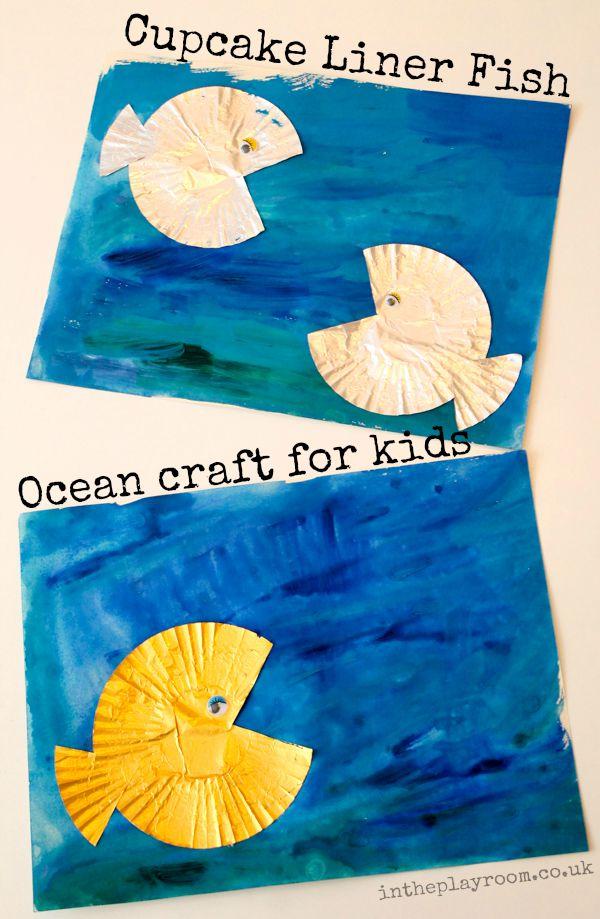 cupcake liner fish ocean craft for kids