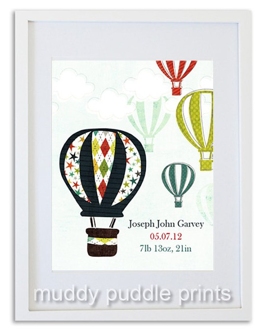 personalised nursery print with hot air balloon design