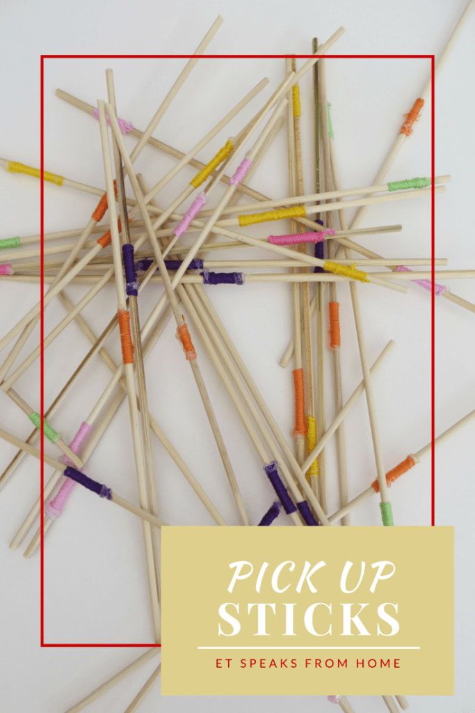 DIY pick up sticks game by ET Speaks from Home