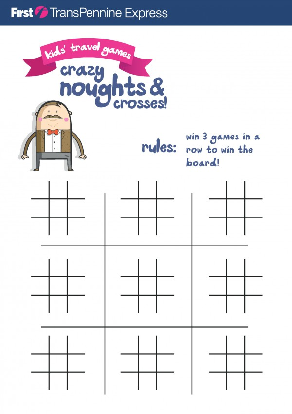 Crazy noughts and crosses. This fun version of the traditional game lasts longer and takes more skill! Win the whole board! Free printable for kids