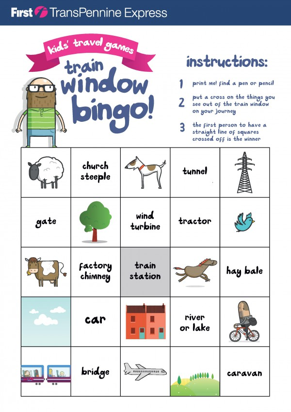 Free printable game for travelling with kids. Train window bingo