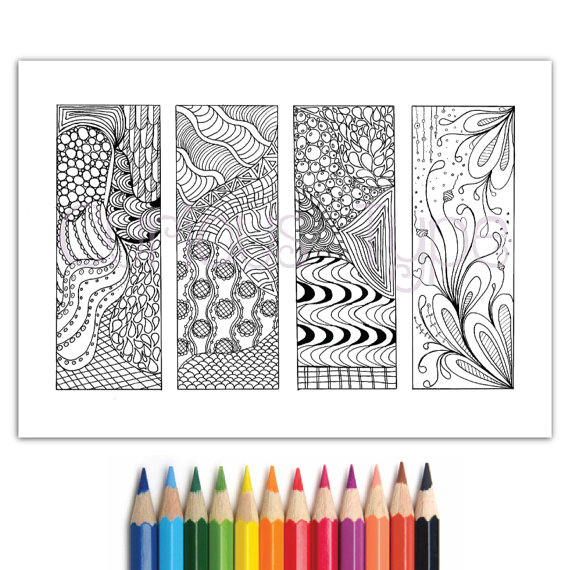 zentangle bookmarks to colour