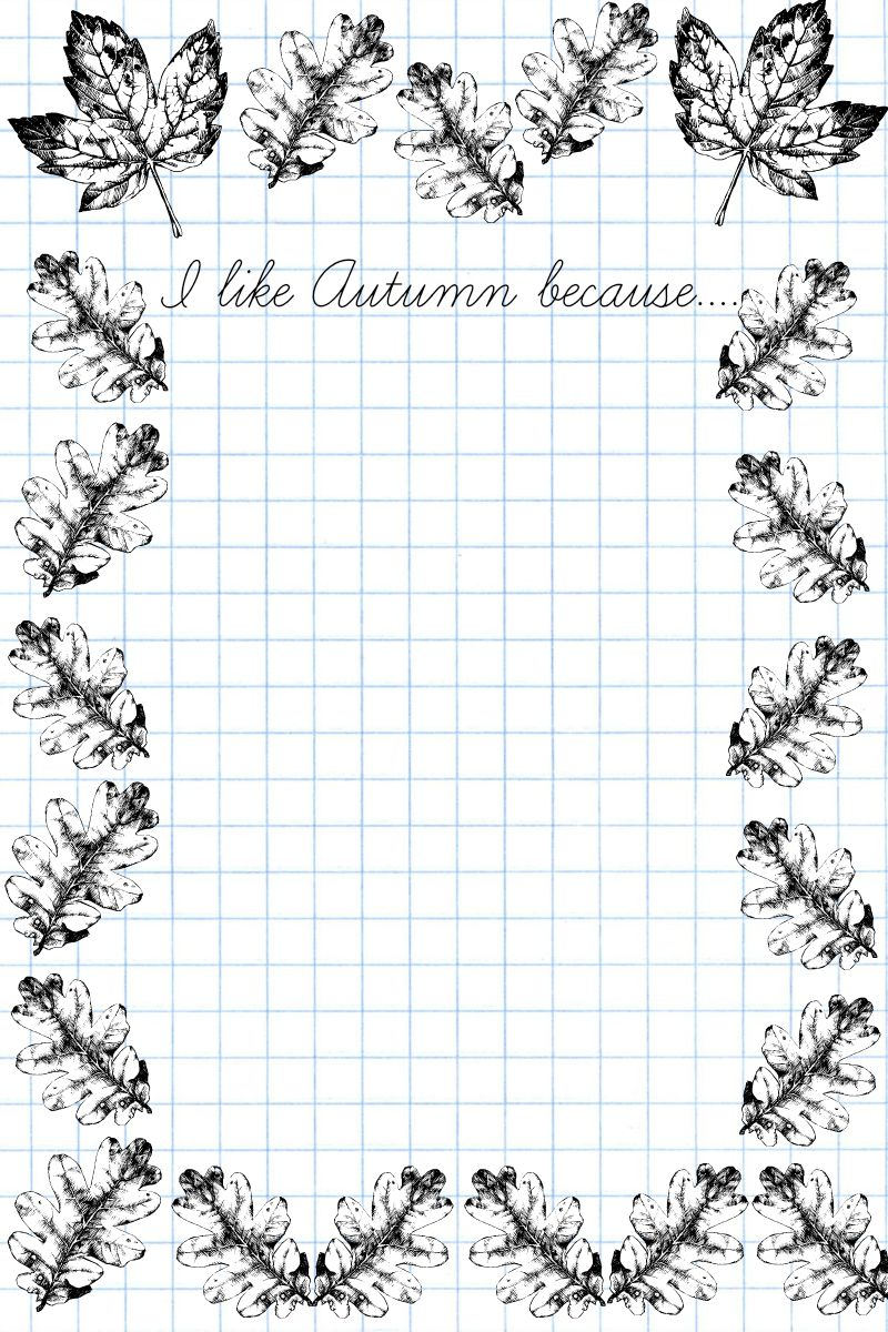 I like Autumn because... writing prompt for kids. Practise writing, and colour the fall leaves