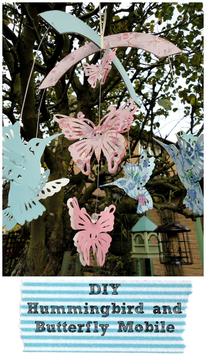 DIY hummingbird and butterfly mobile. Gorgeous paper craft for a child's bedroom