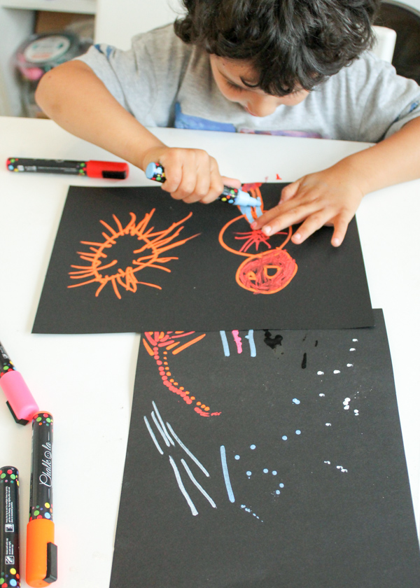 drawing with chalk markers