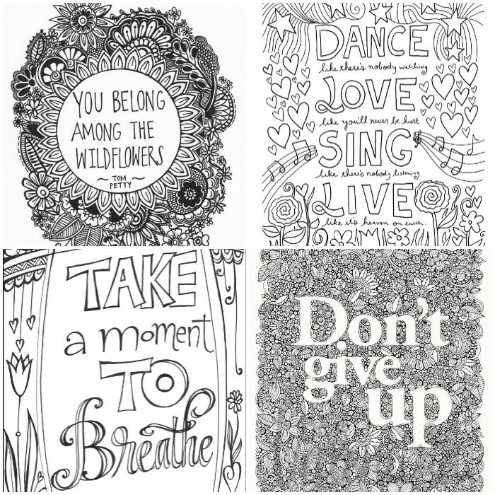 inspirational quotes and words grown up colouring pages