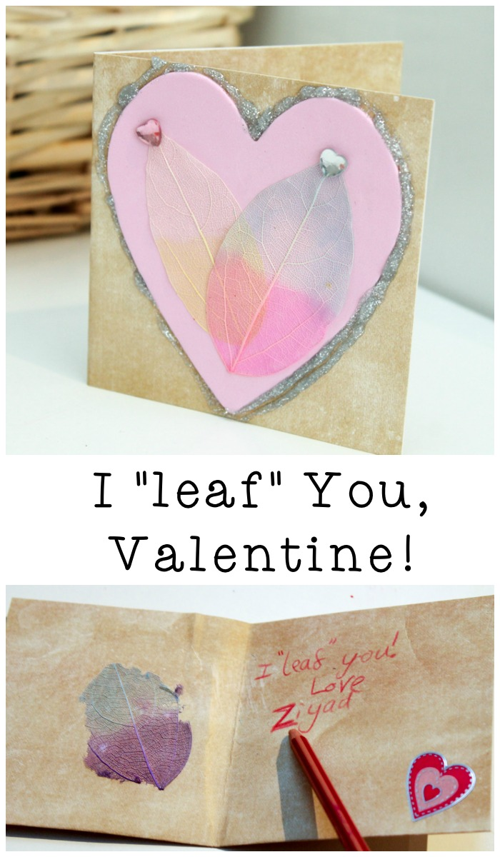 """I Leaf You"" valentines day card made with craft leaves to make a heart. Cute, and easy to make"