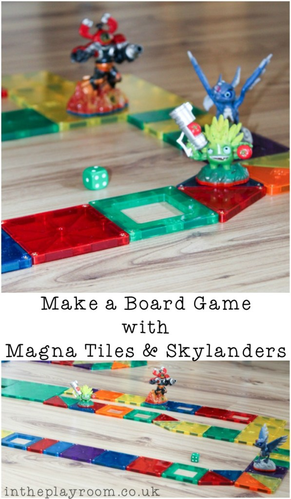 Make your own simple board game with Magna tiles and skylanders. This is so easy, and my kids love finding new ways to play with magna tiles like this. Fun way to practise counting too