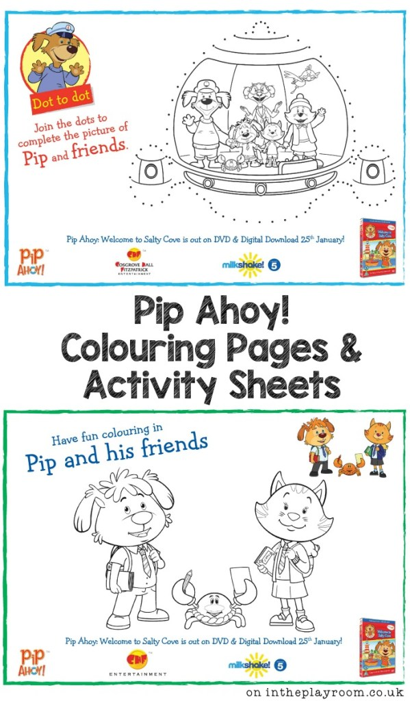 free printable Pip Ahoy! colouring pages and activity sheets