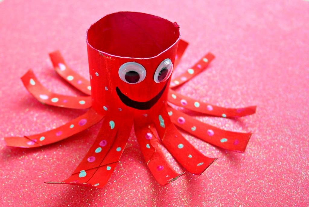 Valentines octopus craft with a toilet paper tube