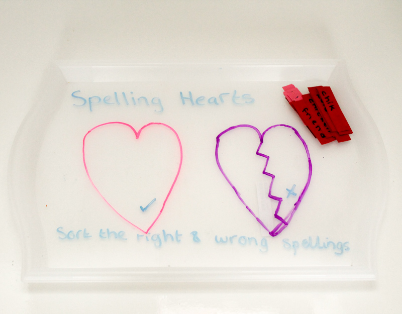 IKEA Smula tray and chalkola markers to set up a spelling activity