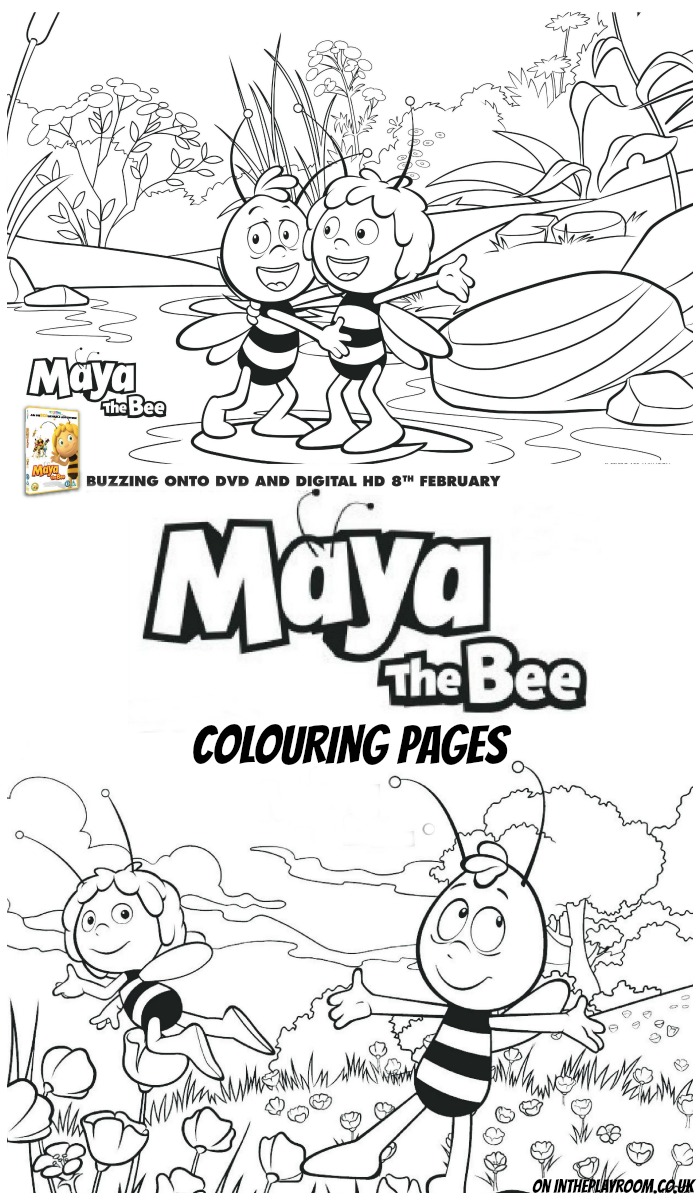 Free printable pack of Maya the Bee colouring pages and mask for kids