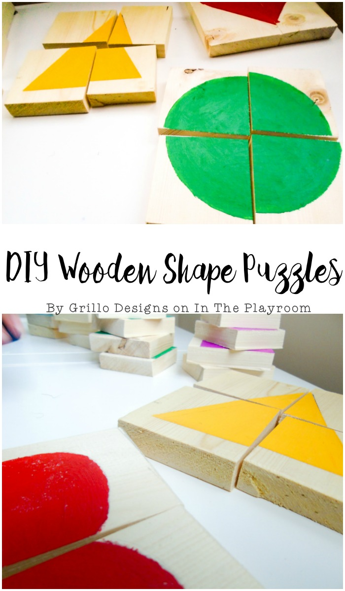 using old wood to make these cute and fun diy shape puzzles for toddlers