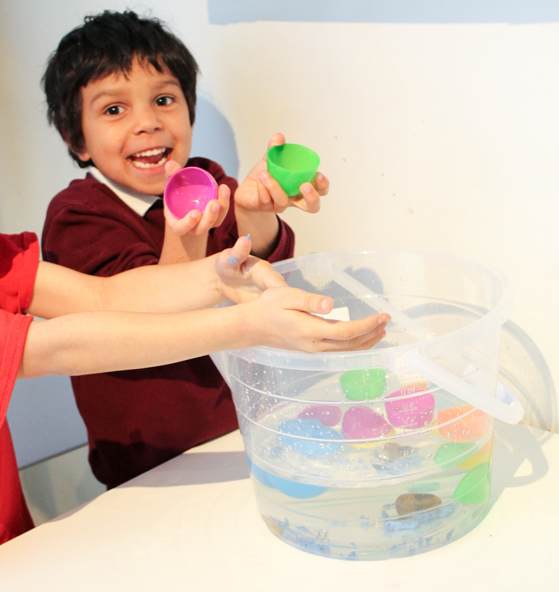 sink or float with plastic easter eggs