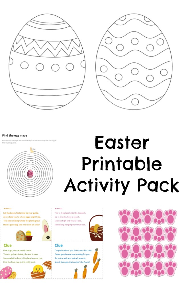 free printable Easter activity pack for kids with easter egg colouring, easter crafts, easter recipes and more