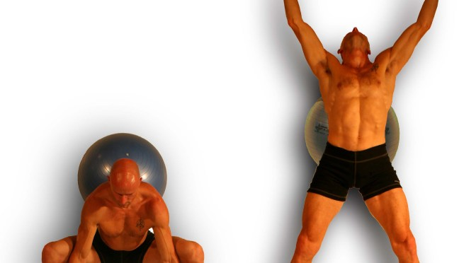 EXERCISE 3.  BALL TO THE WALL SQUATS with OVERHEAD REACH of the BEGINNERS PROGRAM of THE INTRINSACORE METHOD