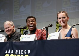 Screenwriter Lawrence Kasdan and actors John Boyega and Daisy Ridley