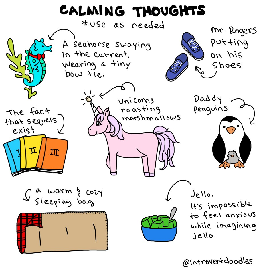 calming thoughts introvert doodles