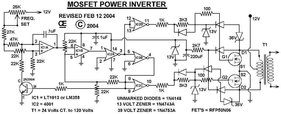 MOSFET power inverter 500W