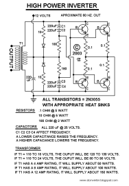 50-150 Watts Power Inverter Circuit using 2N3055