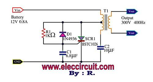 Mini Power Inverter using SCR, 300V 400Hz