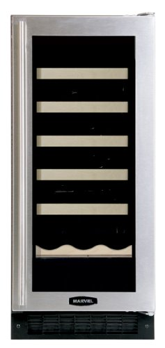 Marvel 30WCM-BS-G-R 15-Inch Wide Under Counter Wine Cellar Black Cabinet Glass and Stainless Steel Door
