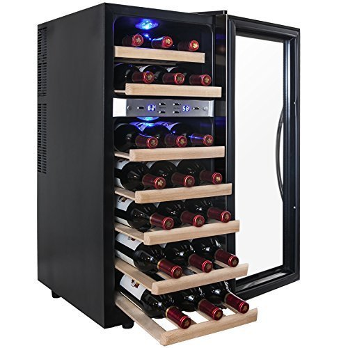 AKDY® 21 Bottle Dual Zone Thermoelectric Freestanding Wine Cooler Cellar Chiller Refrigerator Fridge Quiet Operation with Wooden Shevles