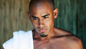Beautiful black man relaxing at a spa