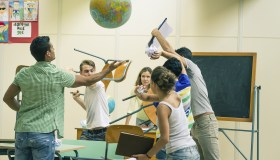 Battle of students in classroom