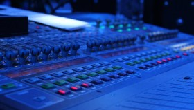 High Angle View Of Sound Mixer In Studio